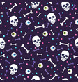 skull and eyeball seamless pattern on blue vector image vector image
