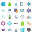 technology icons set cartoon style vector image