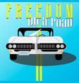 white retro car at roadposter in flat design vector image vector image