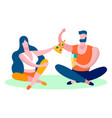 young couple eating pizza flat vector image vector image