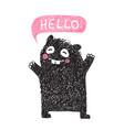 kids hand drawn black monster say hello vector image