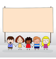Children holding board vector image