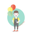 dark haired young character with balloons vector image