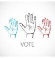 warm colorful up hands logo vote vector image
