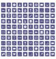 100 basketball icons set grunge sapphire vector image vector image