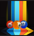 3d bingo lottery nalls over vertical stripes and vector image vector image