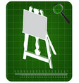 3d model of easel on a green vector image