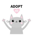 adopt me dont buy gray cat silhouette hand hug vector image