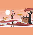 africa rural landscape with abstract geometric vector image