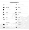 Bicycle parts and components icons for eshop menu