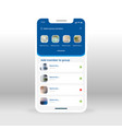 blue group members ui ux gui screen for mobile vector image vector image