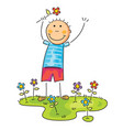 boy with flower on his hand vector image vector image