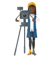 Camerawoman with movie camera vector image vector image