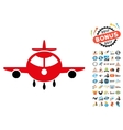 Cargo Plane Icon with 2017 Year Bonus Symbols vector image vector image