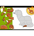 cartoon weasel jigsaw puzzle game vector image vector image