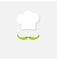 Chef hat and green pea mustache Menu card Flat vector image vector image