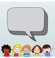 Children with speech bubble vector image vector image