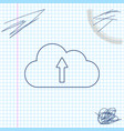 cloud upload line sketch icon isolated on white vector image vector image