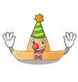 clown straw hat in cartoon wood shape vector image vector image