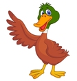 Cute duck cartoon waving vector image vector image