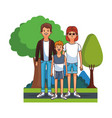 cute family at park cartoon vector image