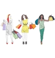fashion shopping girls woman set group happy vector image