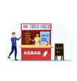 food market worker in kebab tent vector image