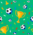 football cup balls and confetti seamless pattern vector image