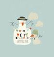 funny cartoon snowmans celebrating winter holidays vector image vector image