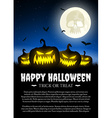 Halloween pumpkin on grass with moon vector image vector image