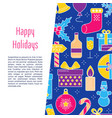 happy holidays banner template in colored line vector image vector image