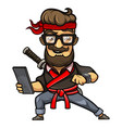 hipster guy in a ninja costume isolated vector image