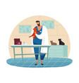 kitten veterinar at animal clinic or cat vet vector image vector image