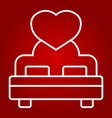 lovers bed with heart line icon valentines day vector image vector image