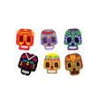 mexican sugar skulls set day dead colorful vector image vector image