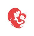 mother loving hugs little balogo mothers day vector image