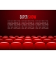 Movie theater with row of red seats Premiere vector image vector image
