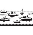 passenger ships and yachts in sea vector image