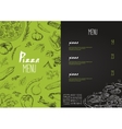 Pizza menu the names of dishes of Pizza vector image vector image