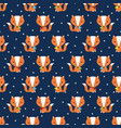 seamless fox pattern vector image vector image