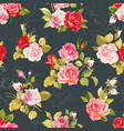 seamless pattern with pink roses vector image
