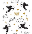 seamless romantic pattern with cupids vector image vector image