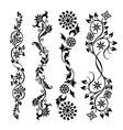 Set black swirl floral pattern vector image