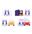 set businesspeople car sharing service saving vector image vector image