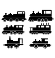 set with cargo train silhouette vector image vector image