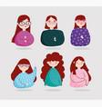 teen girls portrait young character cartoon vector image