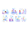 tiny people read books - scenes with characters vector image vector image