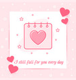 valentines day february calendar heart love text vector image