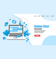 web template with messenger online chat concept vector image vector image