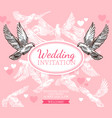 white dove sketch poster of wedding invitation vector image vector image